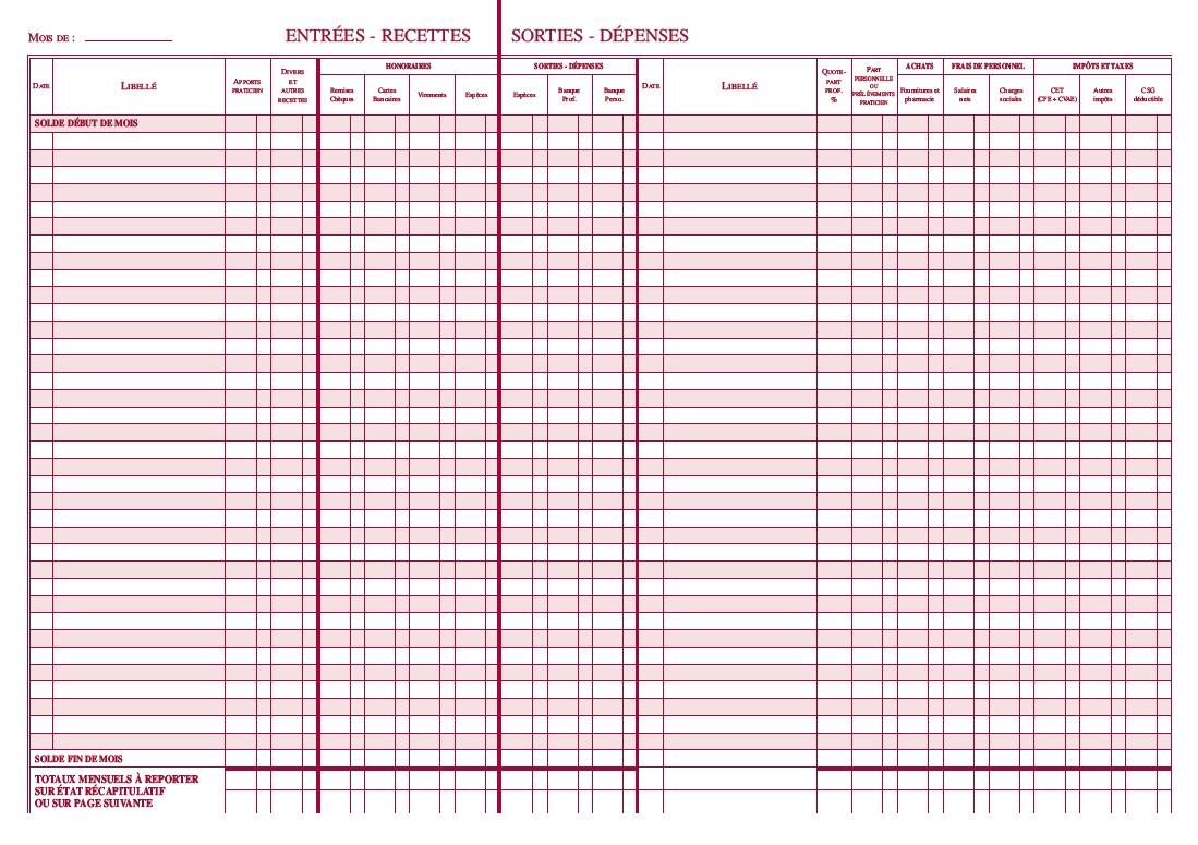livre journal annuel des recettes et dépenses nouveau tracé intérieur pages de droite