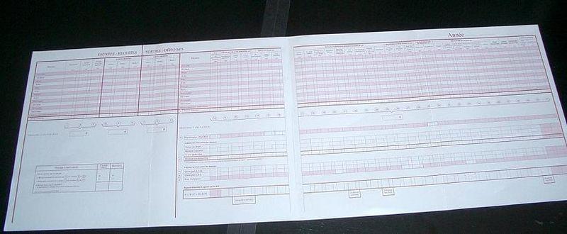 livre journal recettes et dépenses edimedical récapitulatif ouvert double page